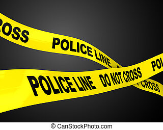 police line - 3d illustration of two ribbons with text...