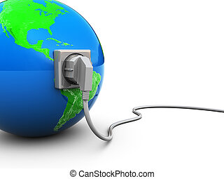 earth and power cable - 3d illustration of earth globe with...