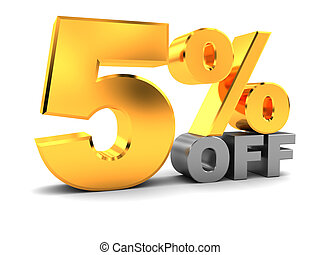 five percent discount - 3d illustration of five percent...