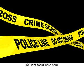 crime scene - 3d illustration of crime scene ribbons over...
