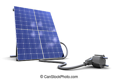 solar panel - 3d illustrationof solar panel with power cord,...