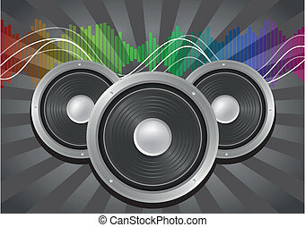 speaker music - illustration of speaker with sunburst and...