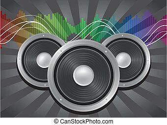 speaker music - illustration of speaker with sunburst and...