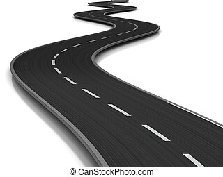 curved road - 3d illustration of curved road over white...