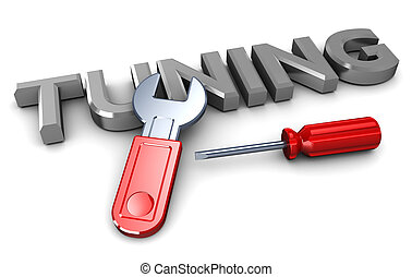 tuning - abstract 3d illustration of tuning sign with hand...