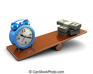 time and money - abstract 3d illustration of money stack and...
