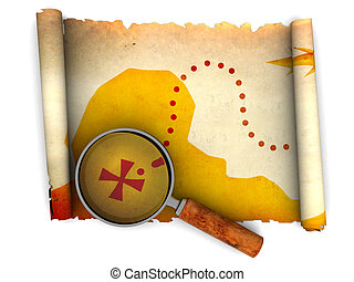 treasure map - 3d illustration of an ancient treasure map...