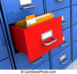 shelf with folders - 3d illustration of office shelf with...