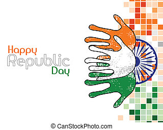 A vector illustration of three hands colored in an Indian National flag colors on Ashok wheel background for Republic Day.