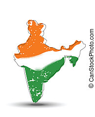 A vector illustration of An India map coverd with Indian Flag.