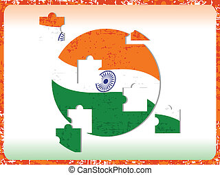 Vector illustration of and Indian Flag with puzzle on grunge border background for Independence Day and Republic Day.
