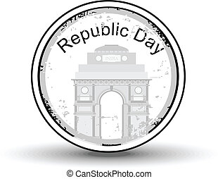 Vector illustration of a rubber stamp showing India Gate  with text Republic day in black color for republic day.