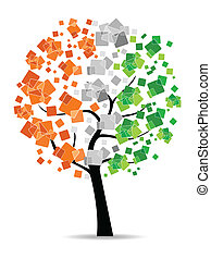 A freedom tree having leafs in an Indian flag colors on white background for Republic and Independence Day.