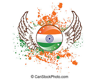 A sign of Indian flag on colorful grunge. vector...