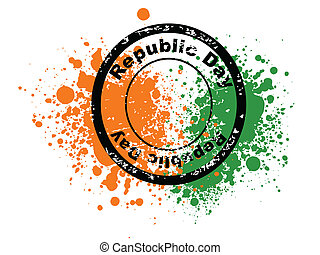 A vector illustration of rubber stamps in black color having Republic Day text  on colorful grunge background for Republic Day and Independence Day.