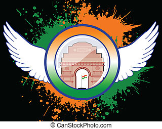 A sign of Indian emblem on colorful grunge showing freedom...