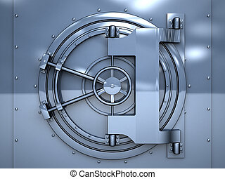 vault door - 3d illustration of blue metal vault door