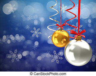 christmas night background - 3d illustration of christmas...