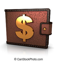 wallet - abstract 3d illustration of brown leather wallet...