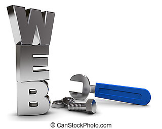 web building - 3d illustration of web sign with wrench and...