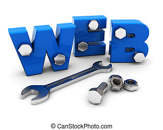 web design - 3d illustration of text web with wrench and...