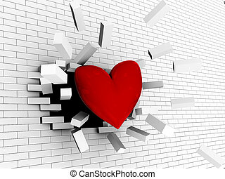 strong love - abstract 3d illustration of red heart breaking...