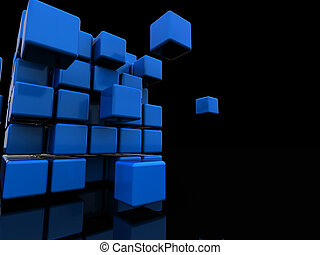 abstract cube background - 3d illustration of black...