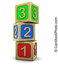 wooden blocks - 3d illustration of wooden blocks with...