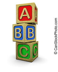 abc blocks - 3d illustration of abc wooden blocks, over...