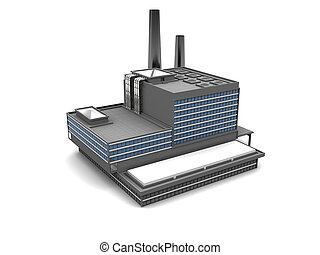 factory - 3d illustration of factory building over white...