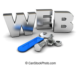web building - 3d illustration of 'web' sign and wrench, web...