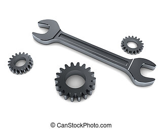 wrench and gear wheels