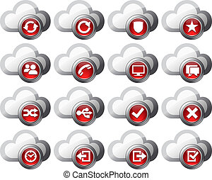 Virtual cloud icons Set 2 - Red - Virtual cloud icons...