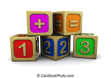 math blocks - 3d illustration of wooden numbers blocks