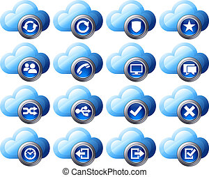 Virtual cloud icons Set 2 - Blue - Virtual cloud icons...