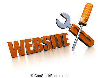 web design - 3d illustration of text 'web' with wrench and...
