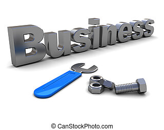bulding business - abstract 3d illustration of text business...