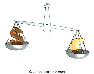 dollar and euro on scale - 3d illustration of dollar and...