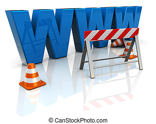 web construction - 3d illustration of www text construction,...