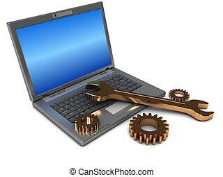 laptop repair - 3d illustration of laptop computer and...