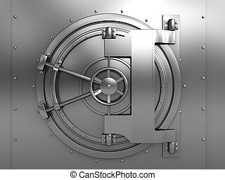 vault door - 3d illustration of bank vault door, front view