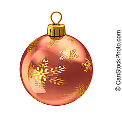 christmas ball - 3d illustration of christmas ball,red...