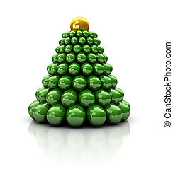 Christmas tree - Abstrac 3d illustration of stylized...