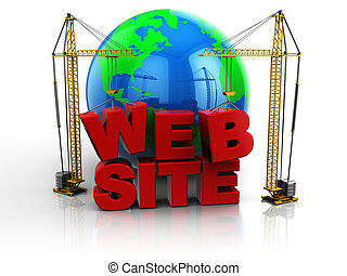 web site building - 3d illustration of two cranes building...