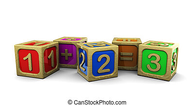 wooden blocks math - 3d illustration of wooden blocks with...