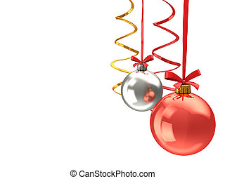 chistmas balls background - abstract 3d illustration of...