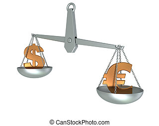 dollar and euro on scale - 3d illustration of steel scale...