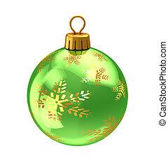 christmas ball - 3d illustration of christmas ball,green...