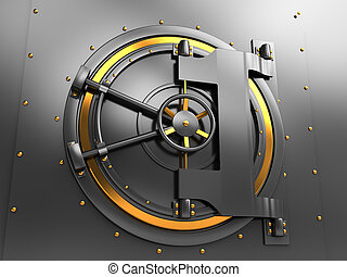 vault door - 3d illustration of bank vault door, dark gray...