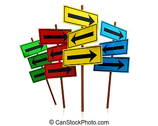 directions - abstract 3d illustration of directions signs...